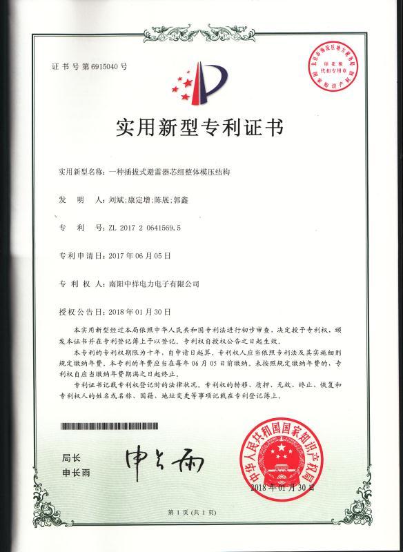 一zhongchaba式bi雷器芯组模压jiegou